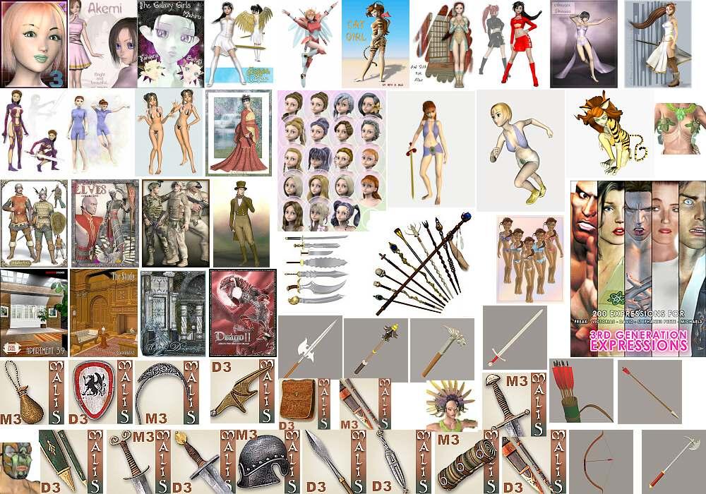 модель Айко + дополнительные  текстуры, морфы и одежда для Дэвида и Мишель, модели оружия