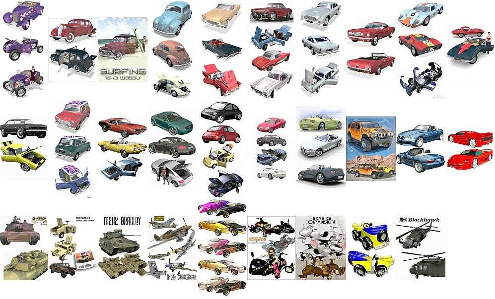 модели автомобилей, вертолетов, самолетов и пр.