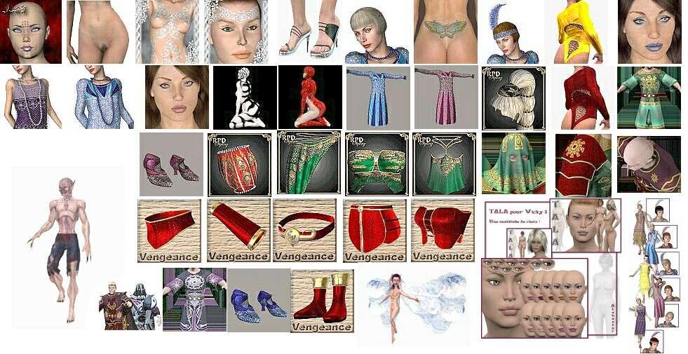 дополнительные текстуры, морфы и одежда для Виктории
